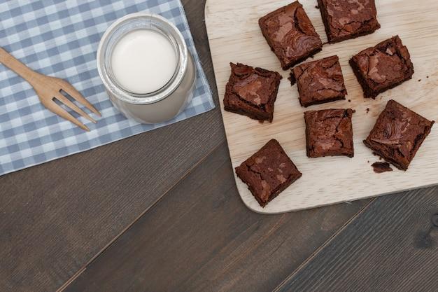 Homemade cake chocolate brownies and milk
