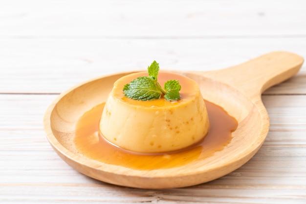 Homemade caramel custard pudding