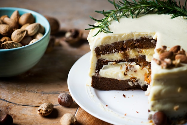 Homemade carrot cake food photography recipe idea