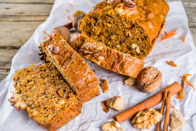 Homemade carrot cake with walnuts