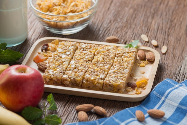 Homemade cereal granola bars with nuts and garnola