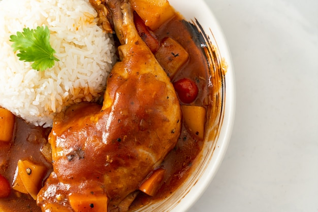 Homemade chicken stew with tomatoes, onions, carrot and potatoes on plate with rice
