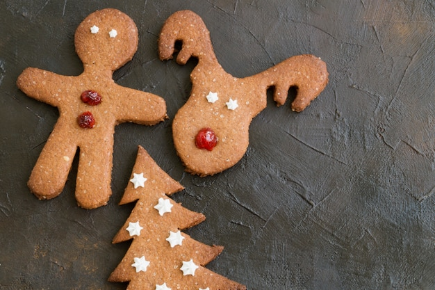 Homemade children's christmas cookies of various shapes
