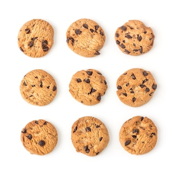Homemade chocolate chips cookies on white in top view
