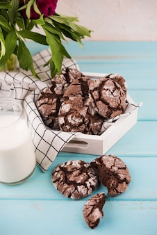 Homemade chocolate cookies on the table
