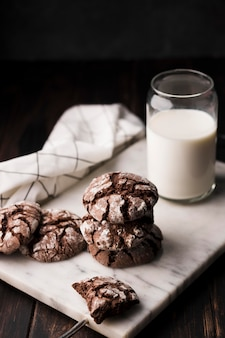 Homemade chocolate cookies with milk