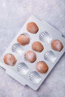 Homemade chocolate madeleine cookies