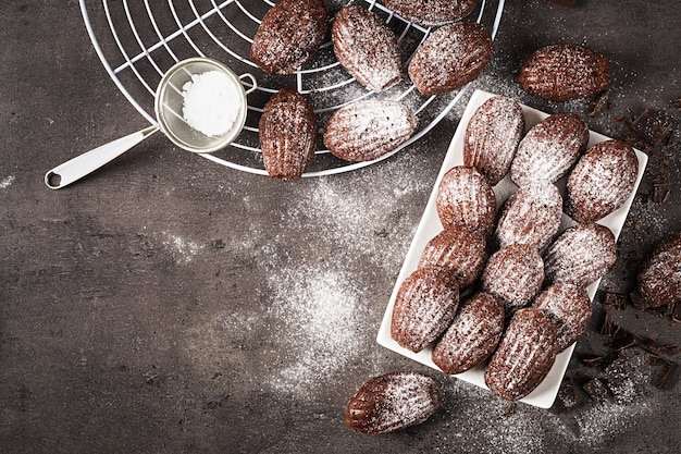 Homemade chocolate madeleines on dark table