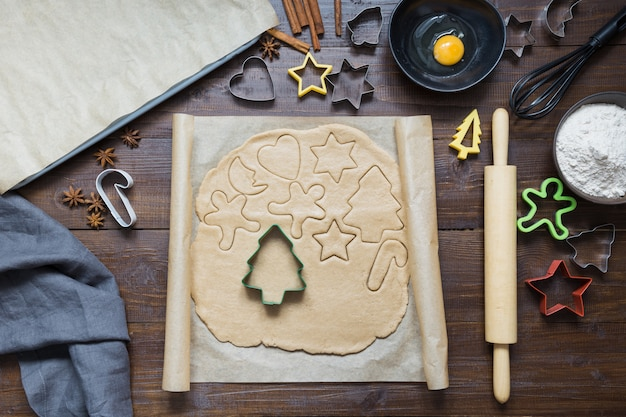 Homemade christmas cookies on parchment.