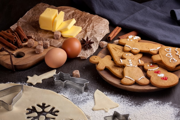 Homemade christmas cookies on rustic background