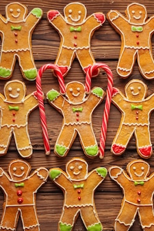 Homemade christmas gingerbread man with icing pattern