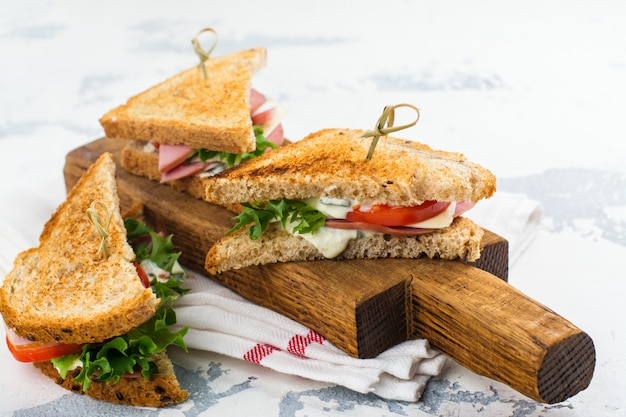 Homemade club sandwiches