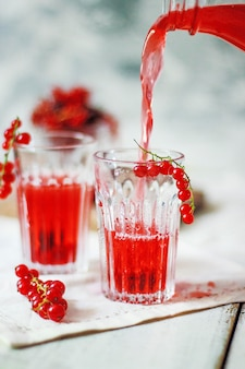 Homemade cold red currant berry drink