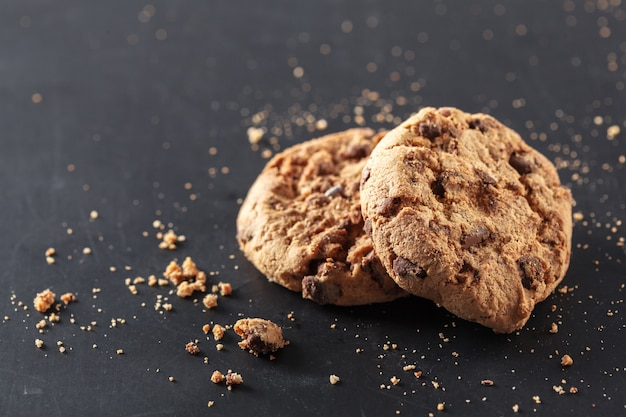 Homemade cookies on a black background