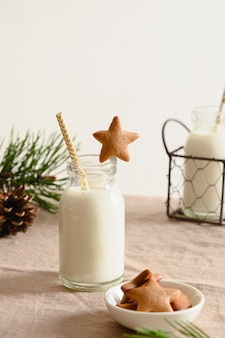 サンタクロースとクリスマスツリーの星とミルクの形をした自家製クッキー