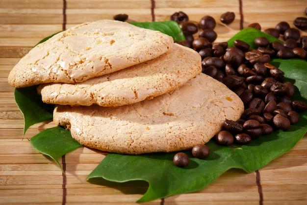 Homemade cookies on leaves