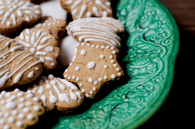 Homemade cookies on a vintage green dish