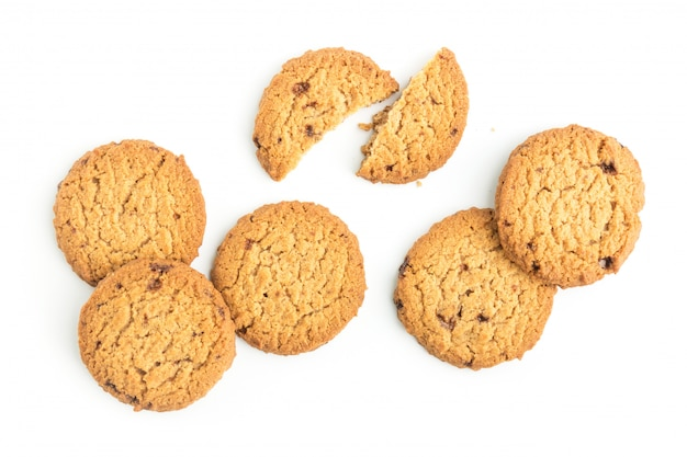 Homemade cookies on white background in top view