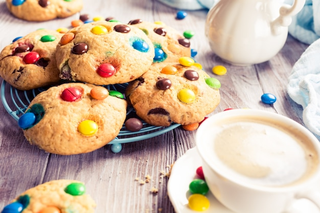 Homemade cookies with colorful chocolate candies