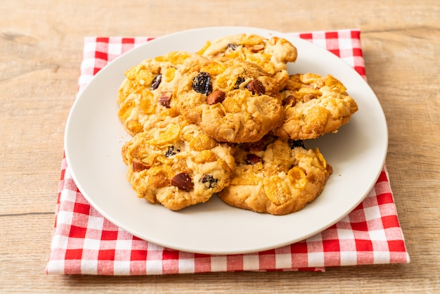 Homemade cookies with cornflake raisin and almonds