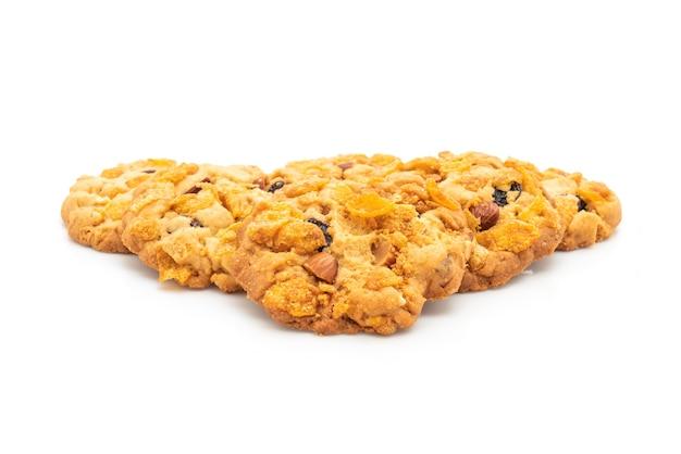 Домашнее печенье с кукурузными хлопьями, изюмом и миндалем