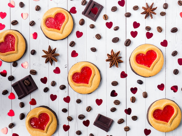 Homemade cookies with a red jam heart valentine's day