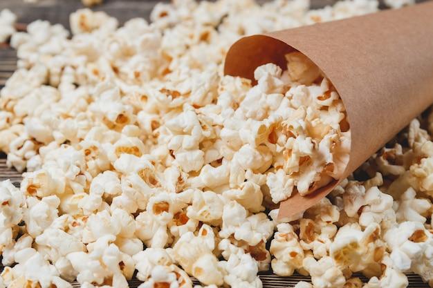 Homemade corn popcorn in bag