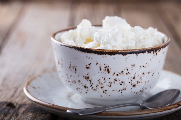 Homemade cottage cheese in a plate.breakfast