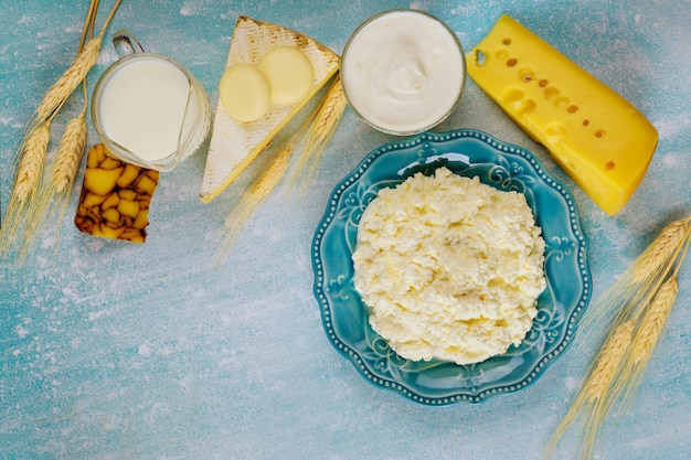 Homemade cottage cheese with milk and wheat