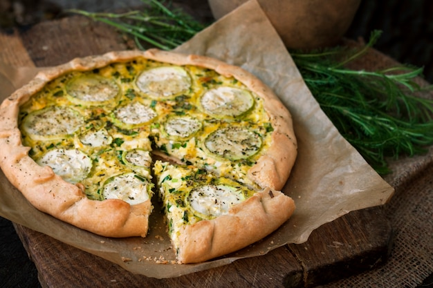 Homemade courgette and goat cheese pie