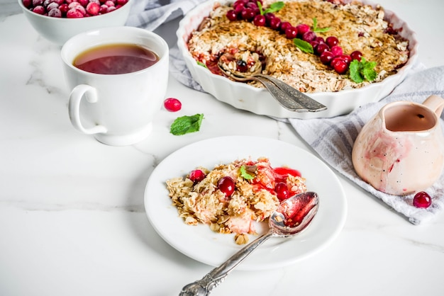 Homemade cranberry crumble