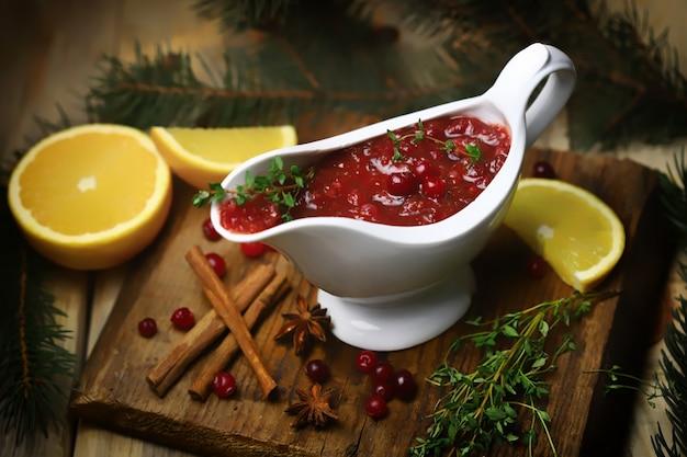 Homemade cranberry sauce.