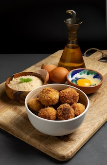 Homemade croquettes witth egg and panko
