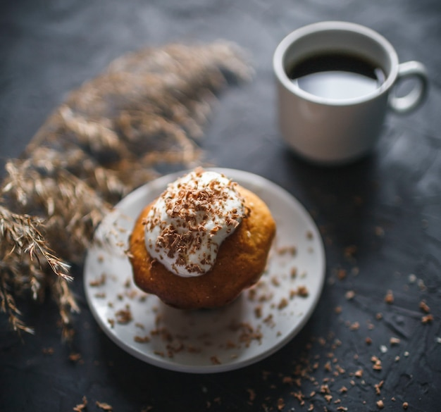 Homemade cupcake with coffee and chocolate chips