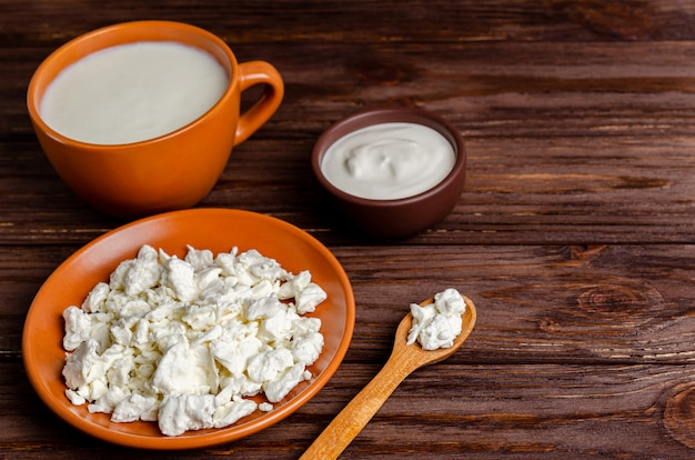 自家製乳製品-ケフィア、カッテージチーズ、コピースペース、平干し