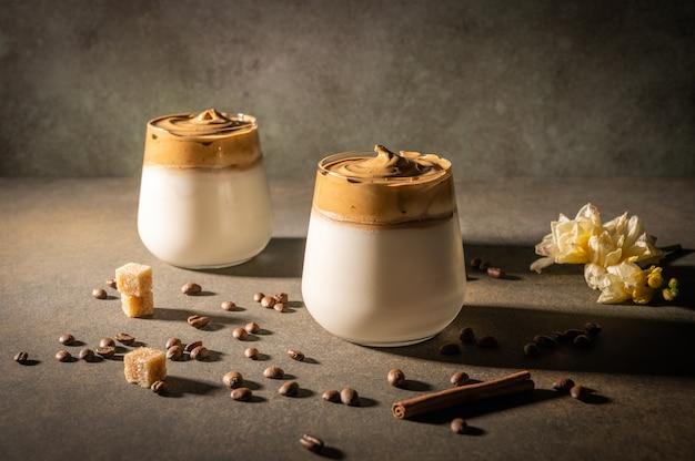 Homemade dalgona coffee on dark background.