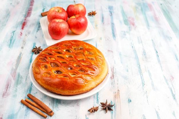 Homemade delicious apple pie with jam.