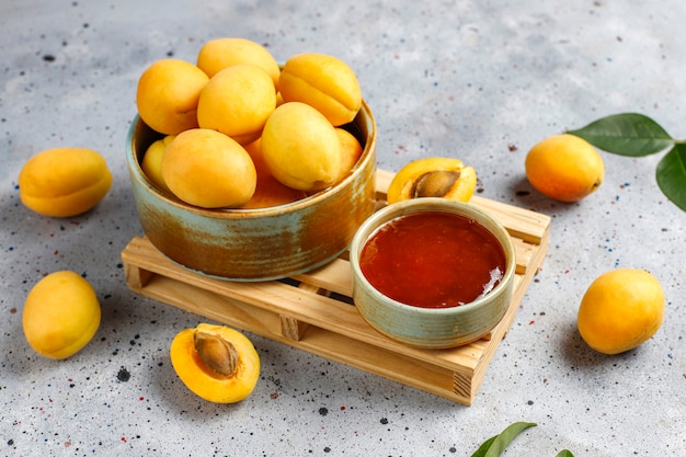 Homemade delicious apricot jam with fresh apricot fruits