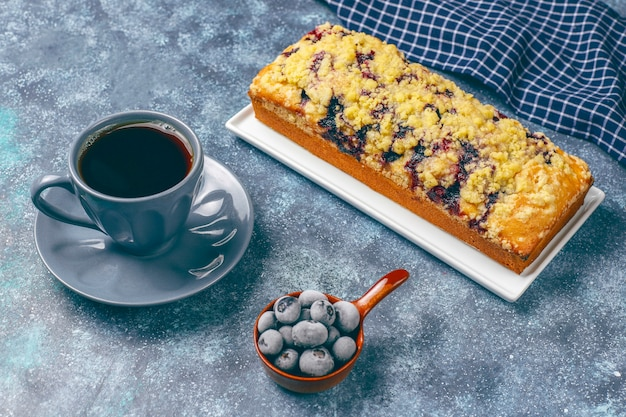 Homemade delicious blueberry crumble cake with frozen blueberries