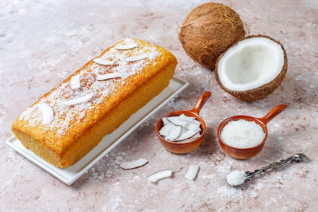 Homemade delicious coconut cake with half coconut