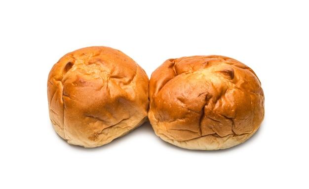 격리된 흰색 배경에 수제 맛있는 햄버거 빵