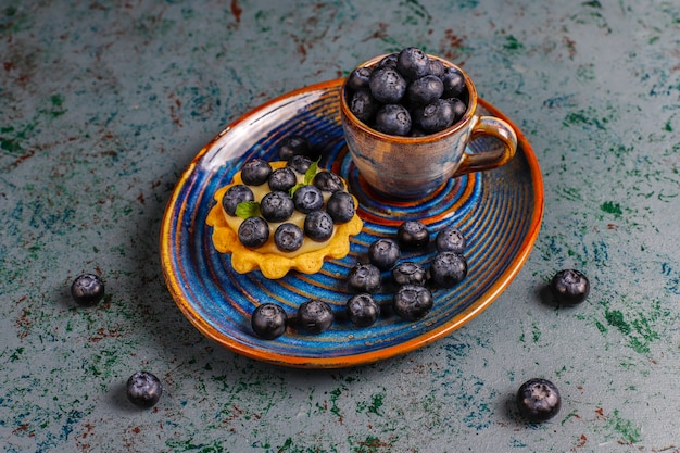 Homemade delicious rustic summer berry tartles.
