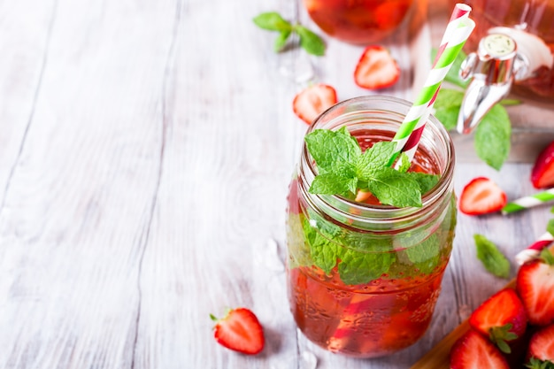 Homemade delicious strawberry compote in glass jar