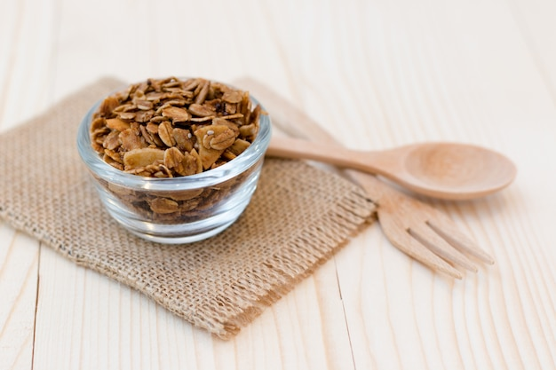 Homemade dessert delicious granola is a breakfast food. it is lightweight, high in calories.