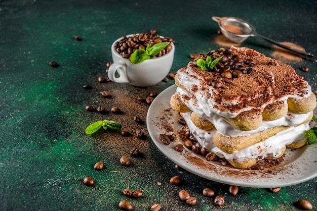 Homemade dessert tiramisu on plate