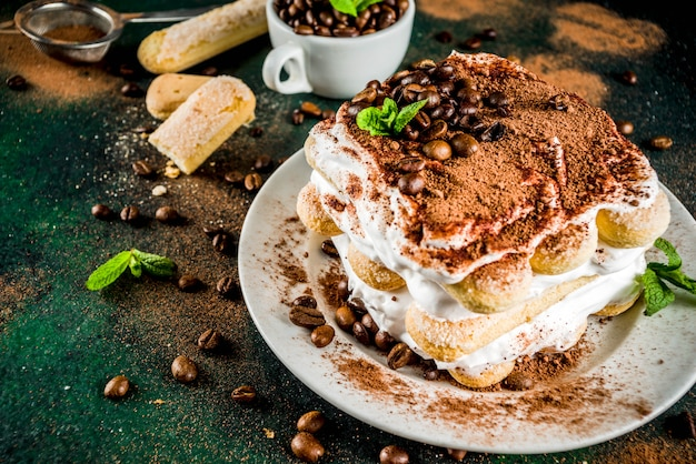 Homemade dessert tiramisu on plate