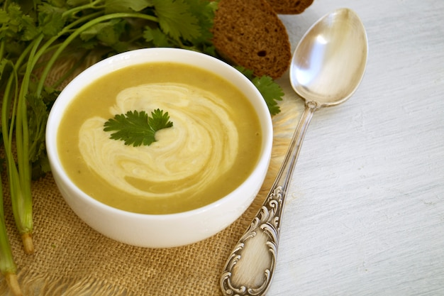 Homemade diet mushroom soup on a light background.
