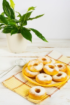 Homemade donuts with caster sugar