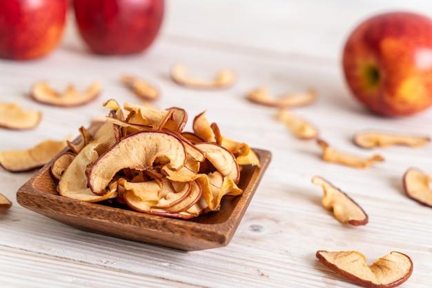 Homemade dried organic apple sliced