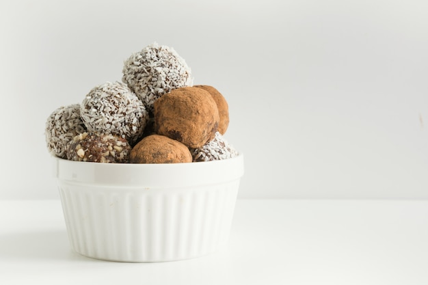 Homemade energy balls with cacao, coconut.